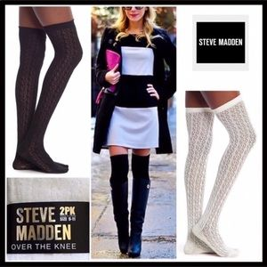 STEVE MADDEN 2 PAIRS TALL THIGH HIGH BOOT SOCKS